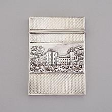 Victorian Silver 'Castle Top' Card Case, Nathaniel Mills, Birmingham, 1839, 3.7