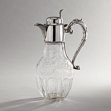 Victorian Silver Mounted 'Rock Crystal' Engraved and Cut Glass Claret Jug, Walter & Charles Sissons, Sheffield, 1893, height 10.2