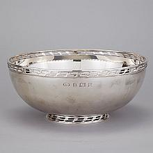 English Silver Bowl, Albert Edward Jones, 1972, diameter 9.6
