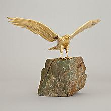 English Silver-Gilt Model of a Hawk, David Andrew for Garrard & Co., London, 1975, 9.4