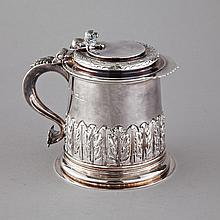 English Silver Tankard, Albert Edward Jones, 1968, height 4.9
