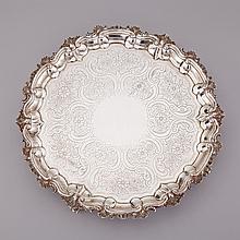 George III Silver Circular Salver, John Hutson, London, 1787, diameter 14.8