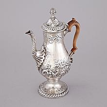 George III Irish Silver Coffee Pot, Ambrose Boxwell, Dublin, 1778, height 11.7