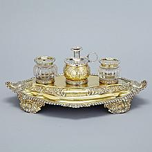 George IV Silver-Gilt Oval Inkstand, Joseph Angell I, London, 1825, length 15.1
