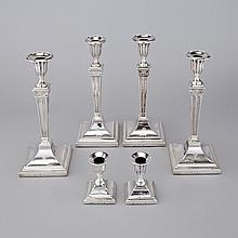 Set of Four George III Silver Candlesticks and Pair of Matching Smaller Candlesticks, John Parsons & Co., Sheffield, 1784, largest height 11.9