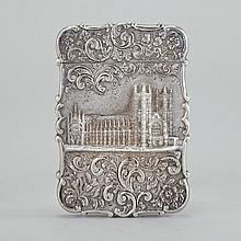 Victorian Silver Westminster Abbey 'Castle Top' Card Case, Nathaniel Mills, Birmingham, 1843, 4.1