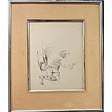 GARY PETER SLIPPER (CANADIAN, 1934-), UNTITLED (FREEDOM), INK/WASH; SIGNED LOWER RIGHT (Image, 8.3