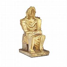 Ossip Zadkine (1890-1967), VIEILLE PAYSANNE, Bronze with gold patina; inscribed with the artist's initials