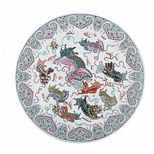 Famille Rose Lion Charger, Qianlong Mark and Republic Period, ?? ??? ??????, diameter 12.8