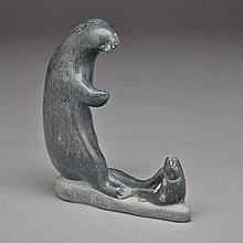 JUANISI JAKUSI ITUKALLA (1949-), OTTER AND FISH, stone, 5.25