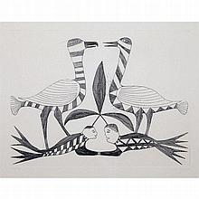 KENOJUAK ASHEVAK (1927-2013), UNTITLED, etching (framed), 9.25