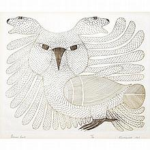 KENOJUAK ASHEVAK (1927-2013), BROWN OWL, engraving (unframed), 9.5