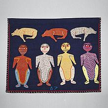 NAOMI ITYI (1928-2003), WOMEN AND DOGS, duffel, thread, felt, embroidery floss, 27