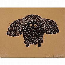 PEA ALOOLOO (1951-1979), OWL, linocut (unframed), 12