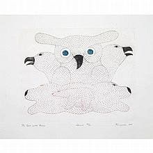 KENOJUAK ASHEVAK (1927-2013), OWL WITH BEARS, engraving (framed), 9.5