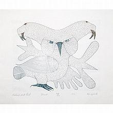 KENOJUAK ASHEVAK (1927-2013), WALRUS AND OWL, engraving (framed), 9.25