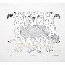 KENOJUAK ASHEVAK (1927-2013), GULLS AND BEARS, engraving (framed), 9.25