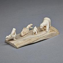 NICK SIKKUARK (1943-), MOTHER BEAR PROTECTING CUB FROM HUNTER AND DOGS, antler, ivory, 1.25