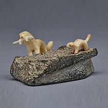 MARK TUNGILIK (1913-1986), WEASEL AND YOUNG, stone, ivory, 1.25