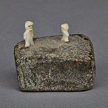 MARK TUNGILIK (1913-1986), TWO STANDING MEN, stone, ivory, .75
