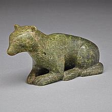 MANNUMI SHAQU (1917-2000), KNEELING WOLF, stone, 3.5
