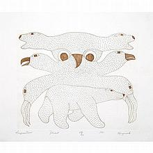 KENOJUAK ASHEVAK (1927-2013), COMPOSITION, engraving (framed), 9.25