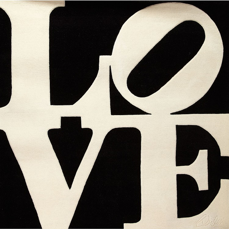 Robert Indiana (1928- ), American CHOSEN LOVE; Skein dyed, hand-carved and hand tufted black and white archival New Zealand wool on canvas with natural latex backing; signed in the weave lower right, signed by Indiana and numbered 252/300 in black