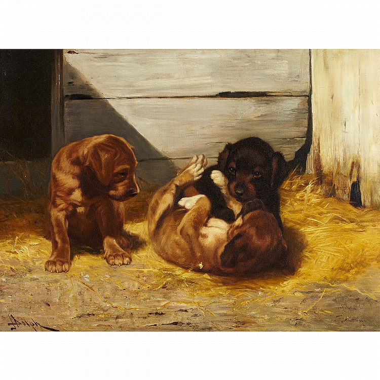 John Henry Dolph (1835-1903), American PUPPIES PLAYING IN A BARN; Oil on canvas; signed lower left18.25