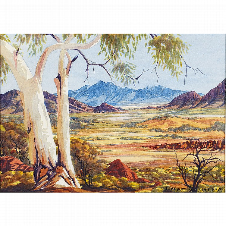Albert Namatjira (1902-1959), Aboriginal VALLEY GUMS; Watercolour; signed lower right, titled and dated '59 versoSheet 10.25