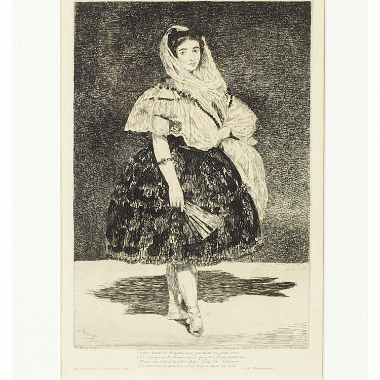 Edouard Manet (1832-1883), French LOLA DE VALENCE, 1863 [HARRIS 72, GUERIN 23]; Etching, drypoint and aquatint, the third (final) state with letters. Issued at