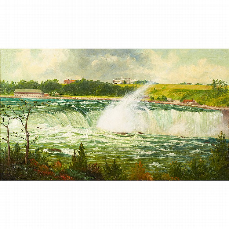 James Everett Stuart (1852-1941), American ORIGINAL SKETCH-HORSESHOE FROM GOAT ISLAND, NIAGARA FALLS, NIAGARA-N.Y; Oil on canvas; signed and dated July 22, 1906 and numbered 1227 lower left, signed, titled, dated July 22-1906 and numbered No. 1227