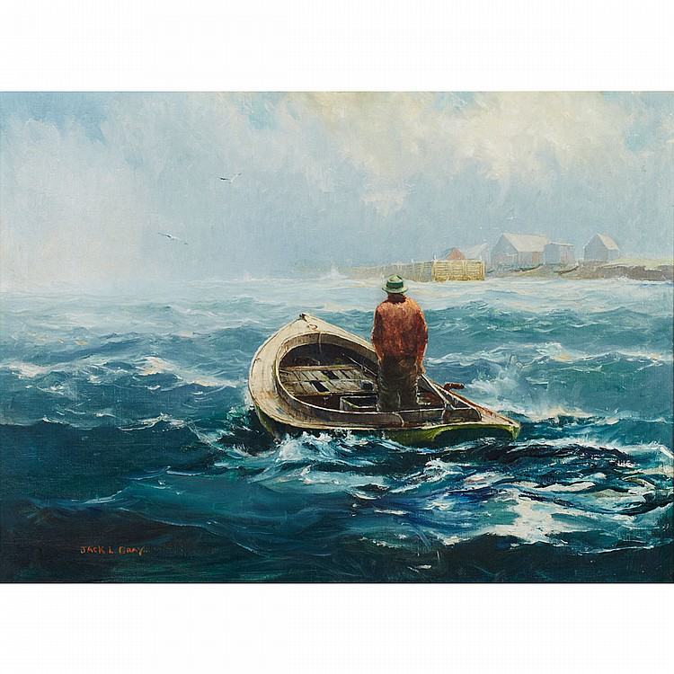 Jack Lorimer Gray (1927-1981), American/Canadian LONE FISHERMAN RETURNING HOME; Oil on canvas; signed lower left22
