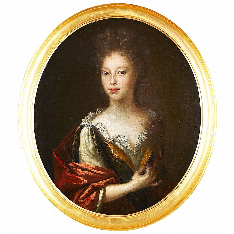 Circle of Sir Peter Lely (1618-1680), British PORTRAIT OF A LADY IN A RED CAPE; Oil on canvas, sculpted oval29