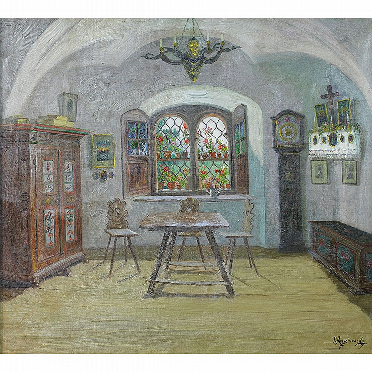 Jakob Koganowsky (1874-1926), Austrian INTERIOR WITH VIEW THROUGH A WINDOW; Oil on canvas; signed lower right35.5
