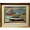 RALPH WALLACE BURTON (CANADIAN, 1905-1983), BOATS AT BING HARBOUR, GEORGIAN BAY - SUMMER 1956, OIL ON PANEL; SIGNED LOWER LEFT; SIGNED AND TITLED VERSO, 10.5