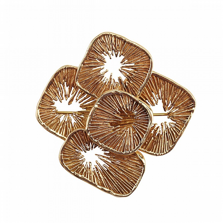 Secrett's 14k Yellow Gold Abstract Brooch 22.5 grams