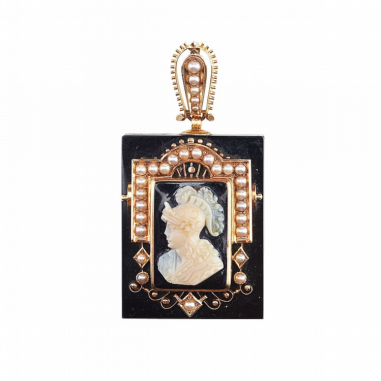 19th Century Onyx Rectangular Pendant centering a rectangular carved hardstone cameo, framed with halved pearls mounted in 18k yellow gold, 1.5