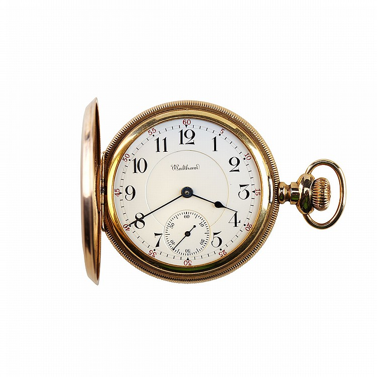 Waltham Stemwind Pocket Watch circa 1908; serial #16071208; 16 size; 23 jewel Riverside Maximus movement; in a 14k yellow gold hunter case, 110.1 grams, no crystal