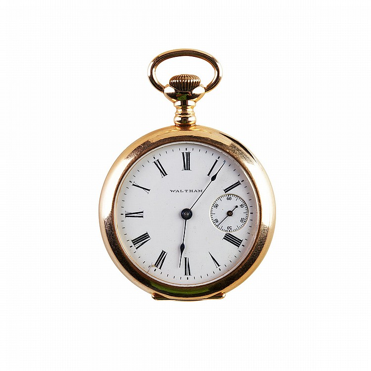 Lady's Waltham Pendant Watch circa 1905; serial #14291286; 0 size; 15 jewel movement; unusual subsidiary seconds at 3 o'clock; in a 14k yellow gold case, 35.8 grams, case monogramed