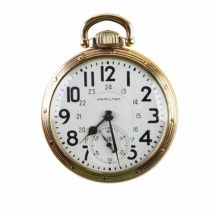 Hamilton RailRoad Grade Pocket Watch circa 1950; serial #C373510; 16 size; 21 jewel 992B movement adjusted to temperature and 6 positions; in a gold-filled case