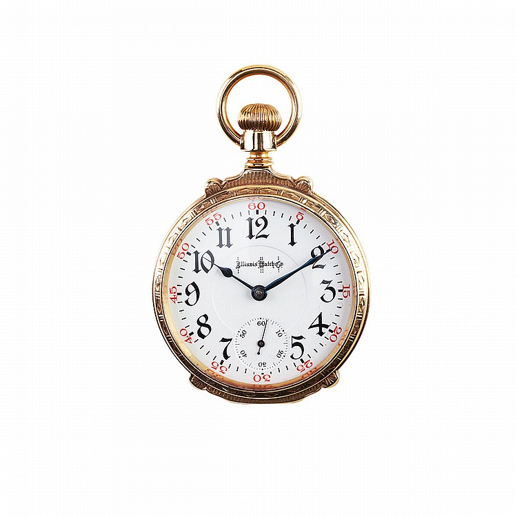 Illinois Watch Co. Openface Pocket Watch circa 1907; serial #1877770; 18 size; 24 jewel Bunn Special movement adjusted to temperature, isochronism and 6 positions; in a heavy 14k yellow gold box hinged case, 141.8 grams