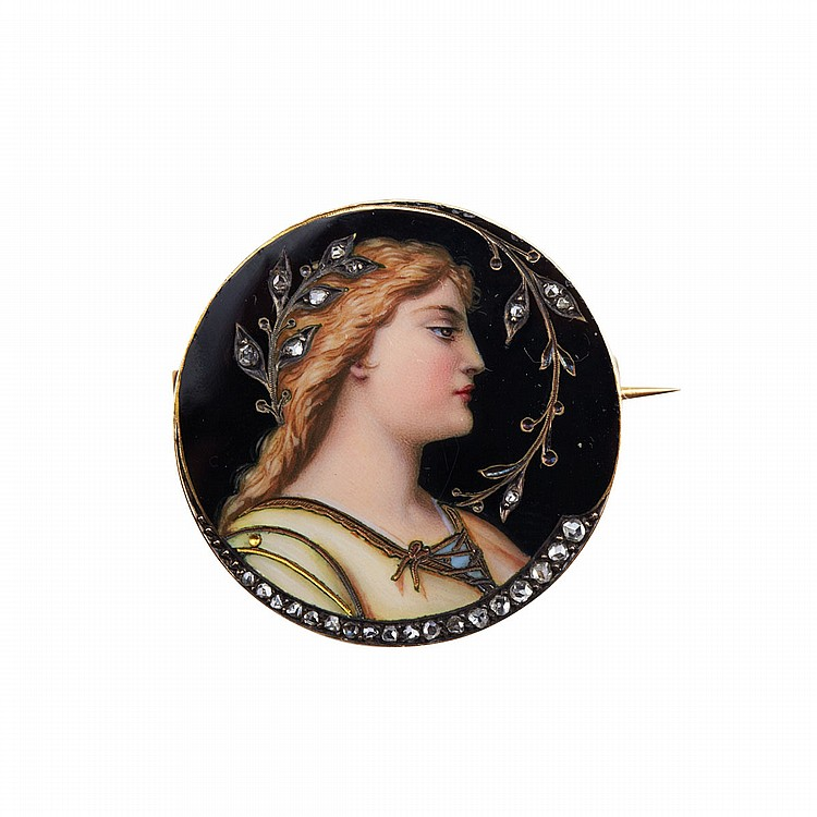 19th Century 18k Yellow Gold And Silver Circular Brooch bearing the fine enamel portrait of a maiden and decorated with small rose cut diamonds, diameter 1.15