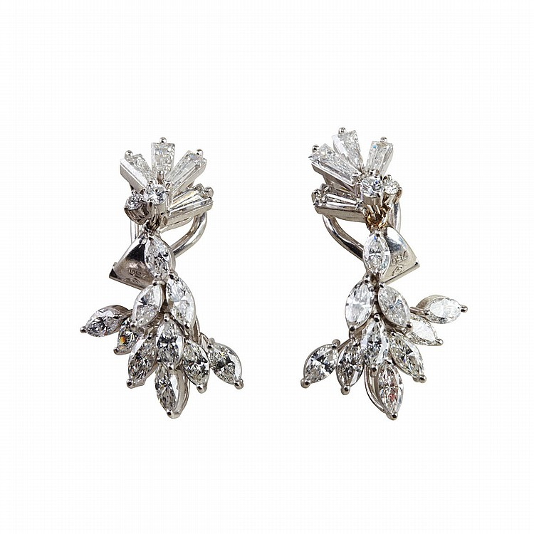 Pair Of 18k White Gold Drop Earrings each set with 2 brilliant cut, 4 baguette cut and 10 marquis cut diamonds (approx. 1.88ct.t.w. per earring), 7.4 grams