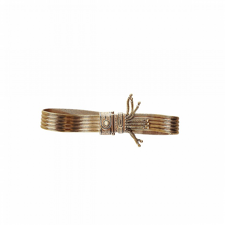 19th Century 18k Yellow Gold Slide Mesh Bracelet decorated with black enamel and a small pearl, length 8