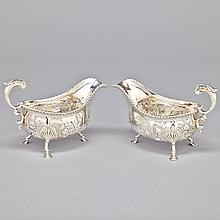 Pair of George III Silver Oval Bellied Sauce Boats, William Skeen, London, 1762, length 7.9