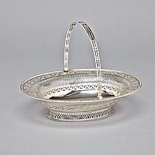 George III Silver Oval Cake Basket, Charles Aldridge & Henry Green, London, 1778, length 13.2