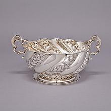 Victorian Silver Two-Handled Punch Bowl, Carrington & Co., London, 1891, width 15.4