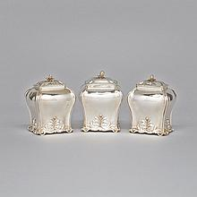 Set of Three George III Silver Tea Caddies, Edward Aldridge I, London, 1771, height 5.2