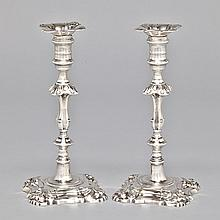 Pair of George III Silver Table Candlesticks, Elizabeth Cooke, London, 1763, height 9.5