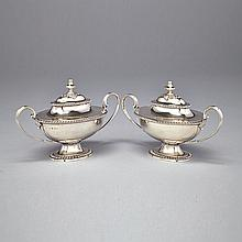 Pair of George III Silver Covered Sauce Tureens, John Ellis, London, 1775, length 10.8